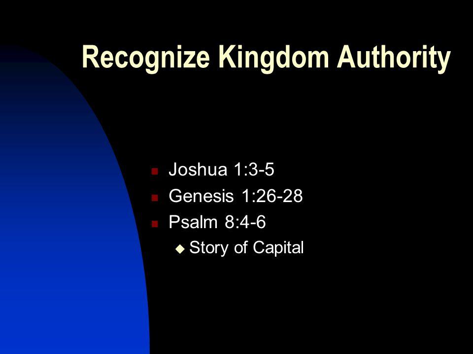 Recognize Kingdom Authority Joshua 1:3-5 Genesis 1:26-28 Psalm 8:4-6  Story of Capital