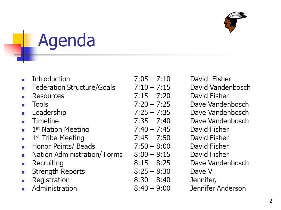 2 Agenda Introduction7:05 – 7:10David Fisher Federation Structure/Goals7:10 – 7:15David Vandenbosch Resources7:15 – 7:20David Fisher Tools7:20 – 7:25Dave Vandenbosch Leadership7:25 – 7:35 Dave Vandenbosch Timeline7:35 – 7:40Dave Vandenbosch 1 st Nation Meeting7:40 – 7:45David Fisher 1 st Tribe Meeting7:45 – 7:50David Fisher Honor Points/ Beads7:50 – 8:00David Fisher Nation Administration/ Forms 8:00 – 8:15David Fisher Recruiting8:15 – 8:25Dave Vandenbosch Strength Reports8:25 – 8:30 Dave V Registration8:30 – 8:40Jennifer, Administration8:40 – 9:00Jennifer Anderson