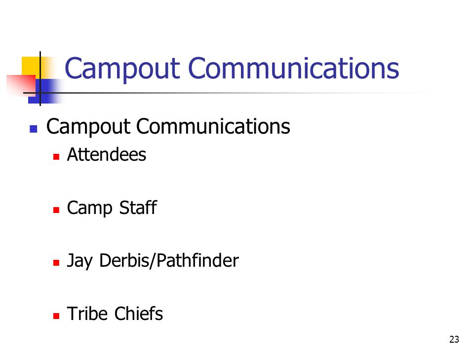 23 Campout Communications Attendees Camp Staff Jay Derbis/Pathfinder Tribe Chiefs