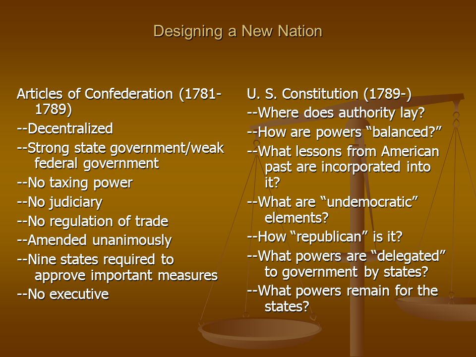Designing a New Nation Articles of Confederation (1781- 1789) --Decentralized --Strong state government/weak federal government --No taxing power --No judiciary --No regulation of trade --Amended unanimously --Nine states required to approve important measures --No executive U.