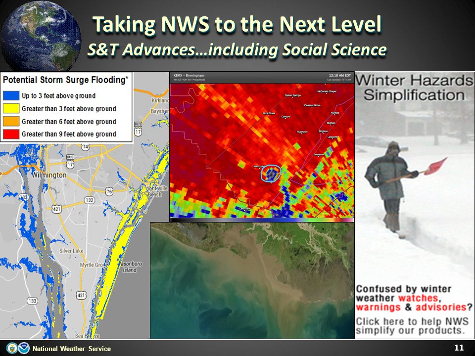 National Weather Service 11 Taking NWS to the Next Level S&T Advances…including Social Science Taking NWS to the Next Level S&T Advances…including Soc