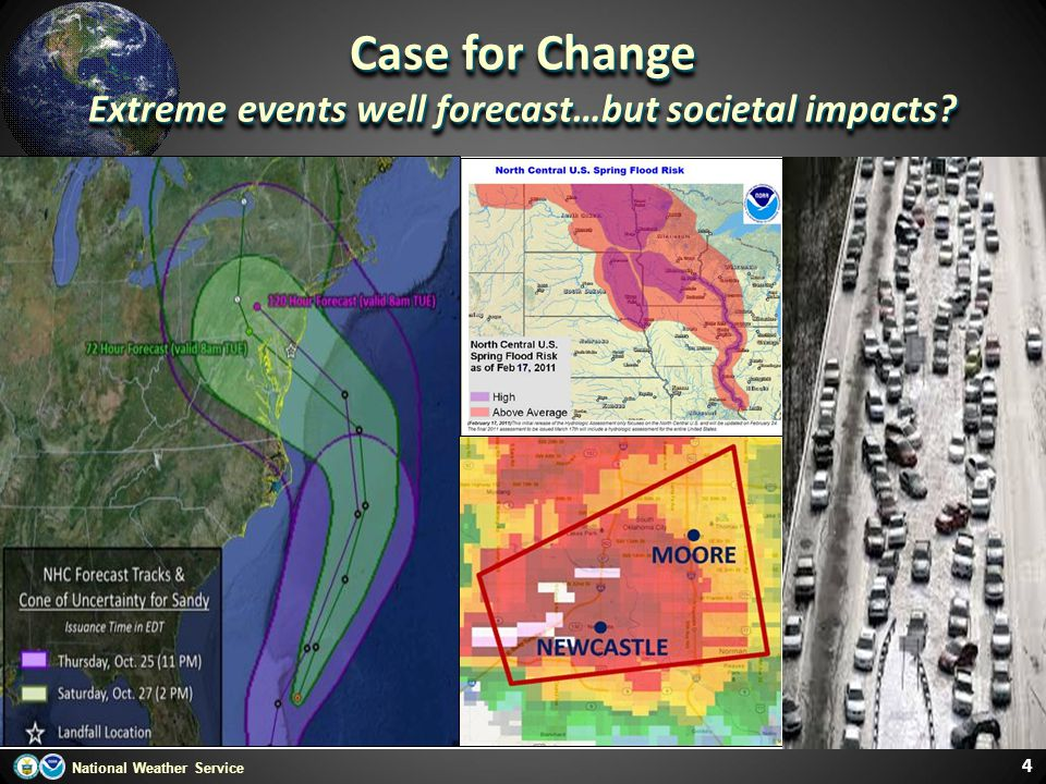 National Weather Service 4 Case for Change Extreme events well forecast…but societal impacts? Case for Change Extreme events well forecast…but societa