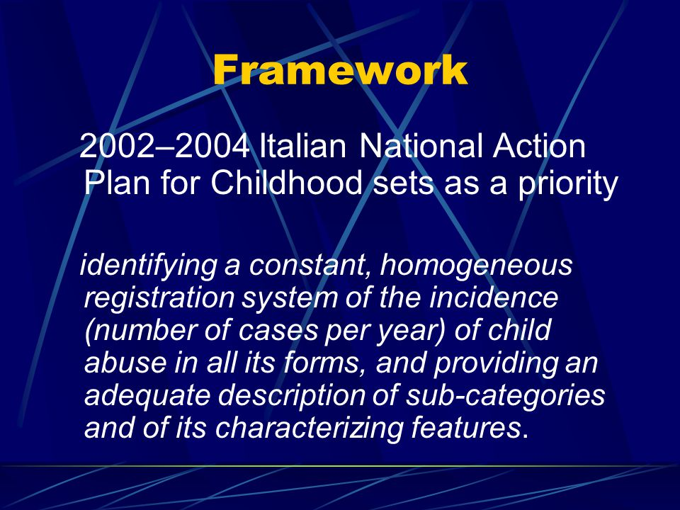 The project is part of the duties attributed to the National Centre in accordance with Law 451/97 under which the National Centre was established Pilot project's aims: 1.experimenting COMMON models in examining and reporting suspected or confirmed cases of ill-treatment and sexual abuse of children; 2.