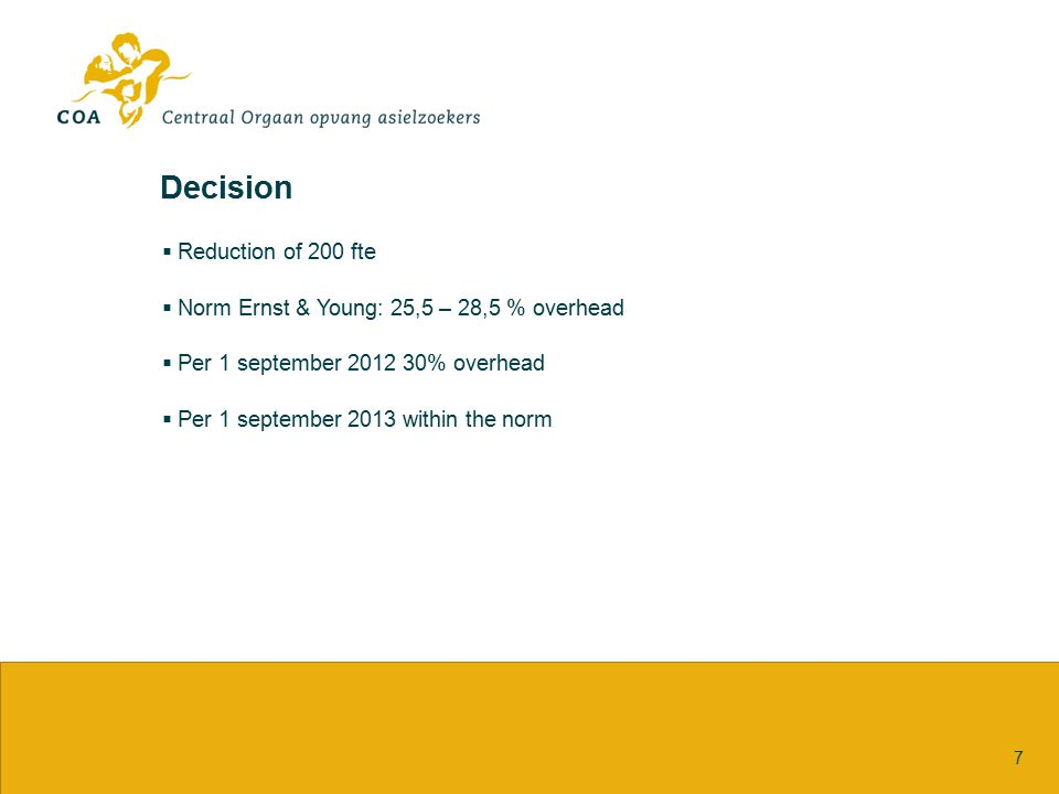 Decision 7  Reduction of 200 fte  Norm Ernst & Young: 25,5 – 28,5 % overhead  Per 1 september 2012 30% overhead  Per 1 september 2013 within the n