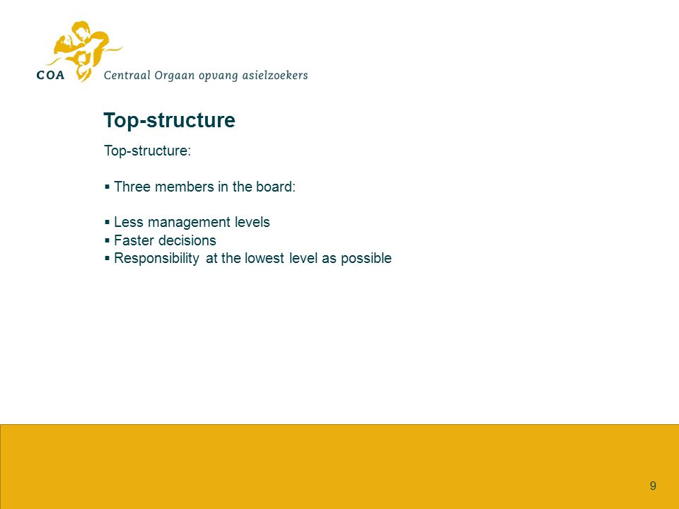 Top-structure 9 Top-structure:  Three members in the board:  Less management levels  Faster decisions  Responsibility at the lowest level as possi