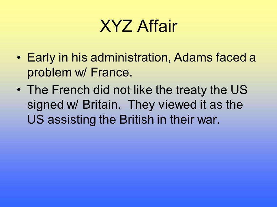 Early in his administration, Adams faced a problem w/ France.