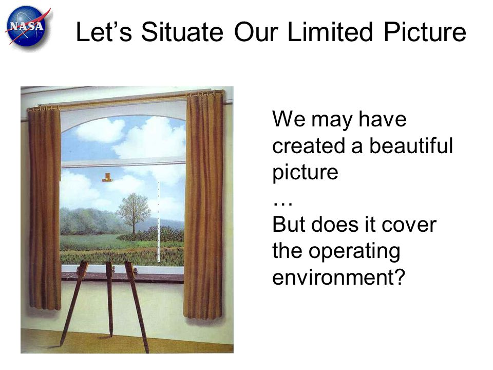 Let's Situate Our Limited Picture We may have created a beautiful picture … But does it cover the operating environment?