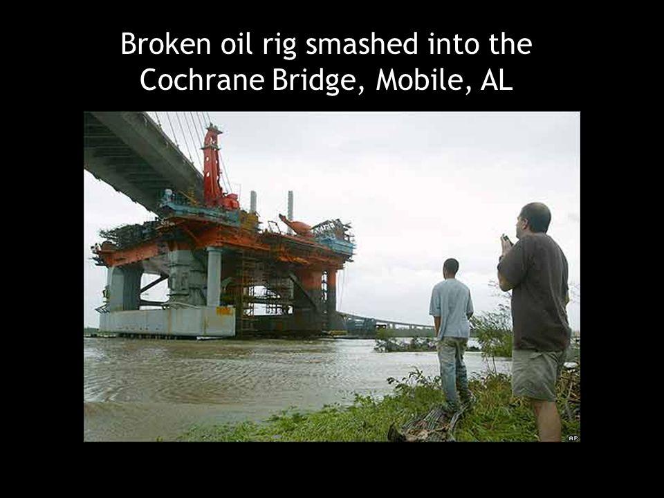 Broken oil rig smashed into the Cochrane Bridge, Mobile, AL
