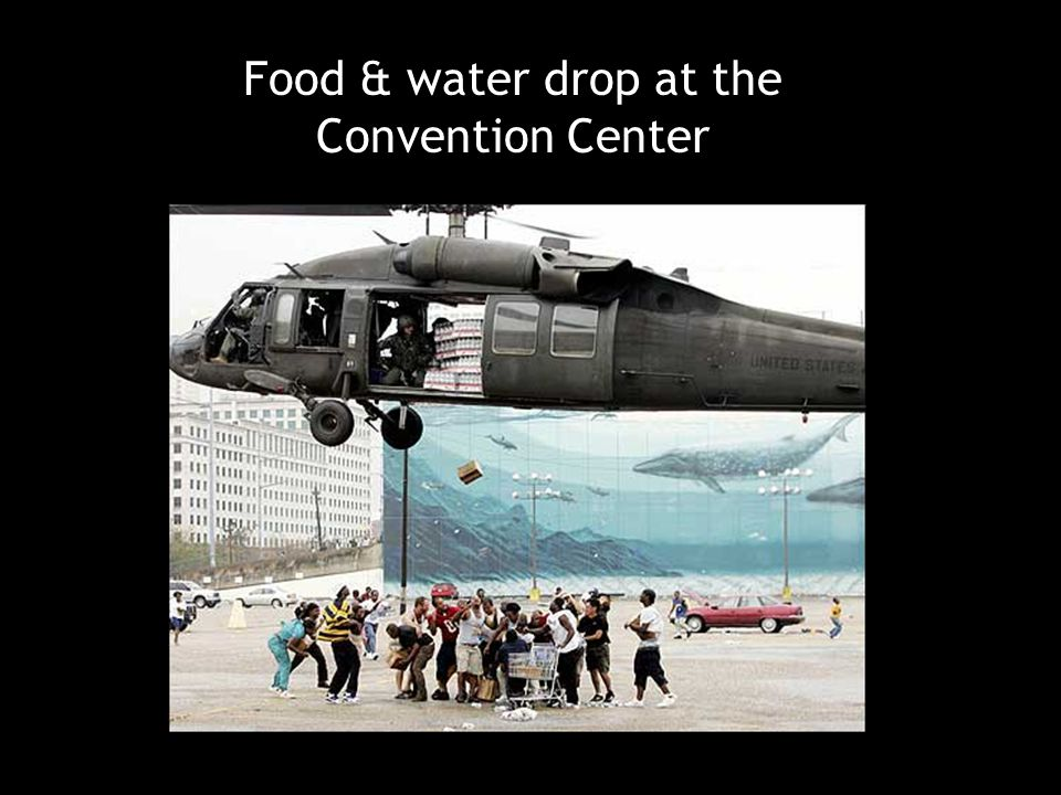Food & water drop at the Convention Center