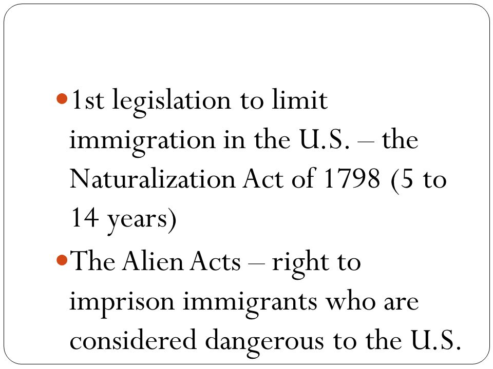 1st legislation to limit immigration in the U.S.