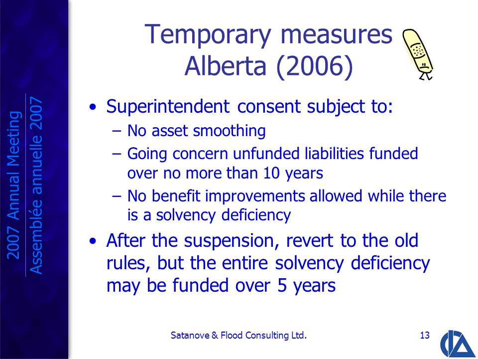 Satanove & Flood Consulting Ltd.13 Temporary measures Alberta (2006) Superintendent consent subject to: –No asset smoothing –Going concern unfunded liabilities funded over no more than 10 years –No benefit improvements allowed while there is a solvency deficiency After the suspension, revert to the old rules, but the entire solvency deficiency may be funded over 5 years 2007 Annual Meeting Assemblée annuelle 2007