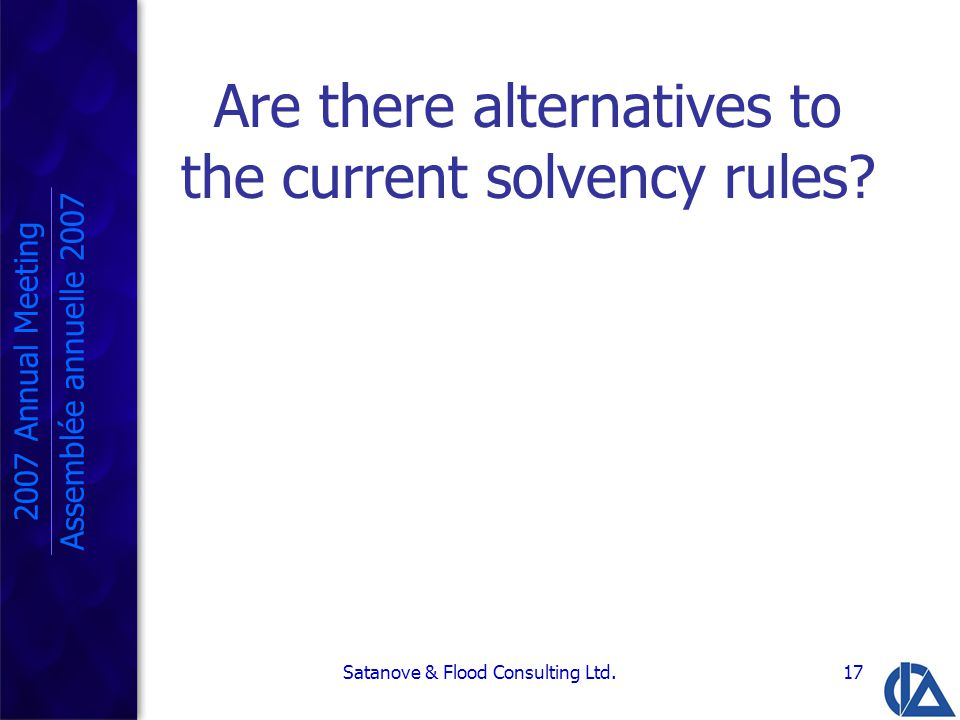 Satanove & Flood Consulting Ltd.17 Are there alternatives to the current solvency rules.