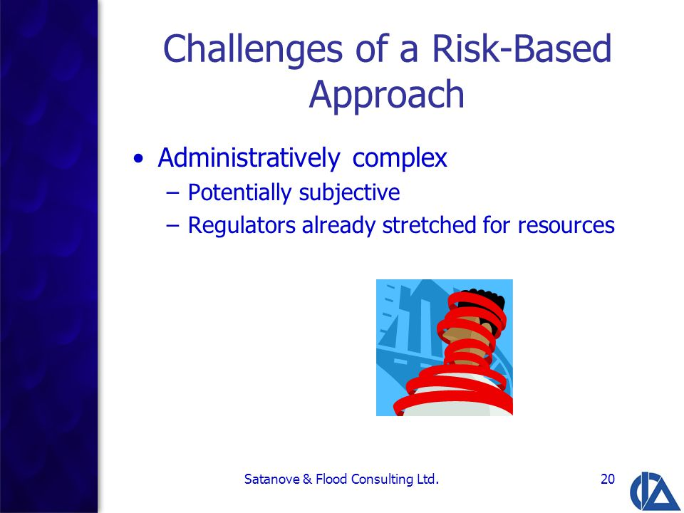 Satanove & Flood Consulting Ltd.20 Challenges of a Risk-Based Approach Administratively complex –Potentially subjective –Regulators already stretched for resources