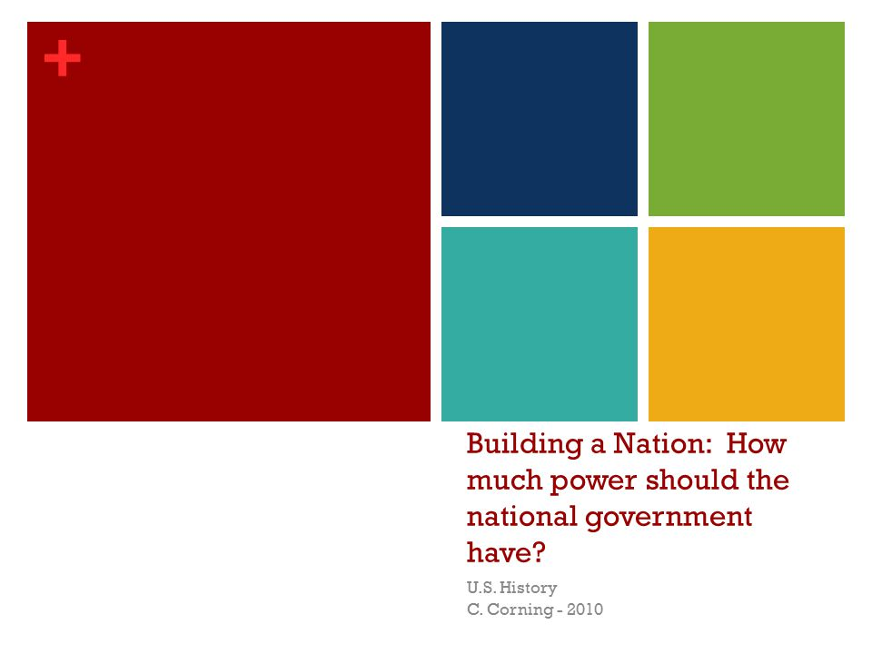 + Building a Nation: How much power should the national government have.