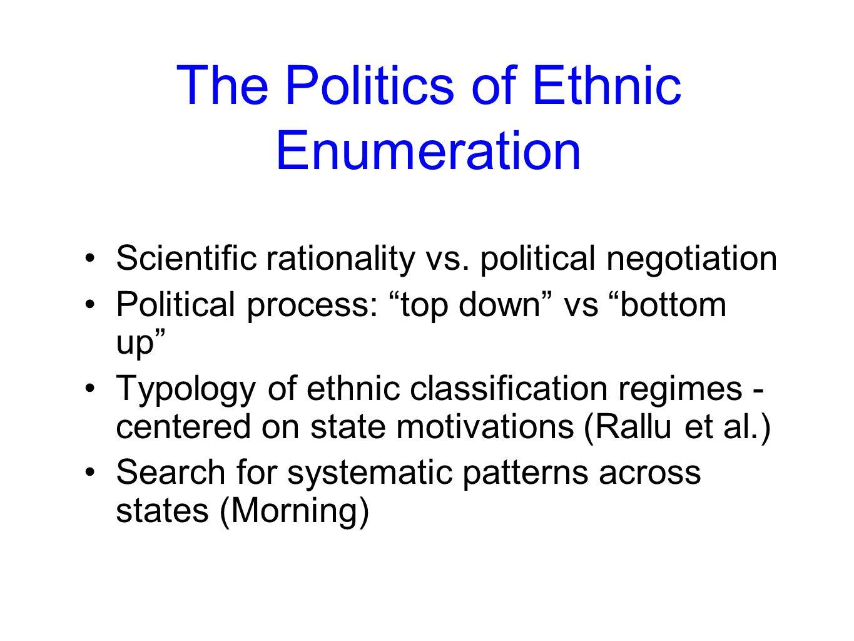 The Politics of Ethnic Enumeration Scientific rationality vs.