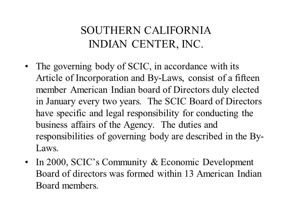 SOUTHERN CALIFORNIA INDIAN CENTER, INC.