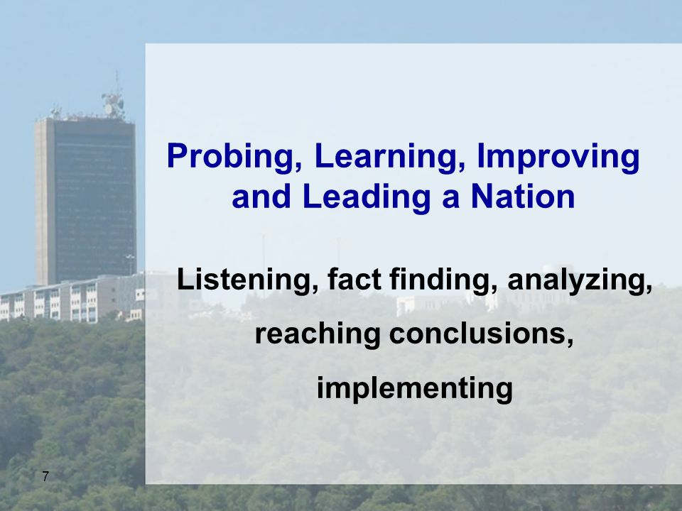 7 Probing, Learning, Improving and Leading a Nation Listening, fact finding, analyzing, reaching conclusions, implementing