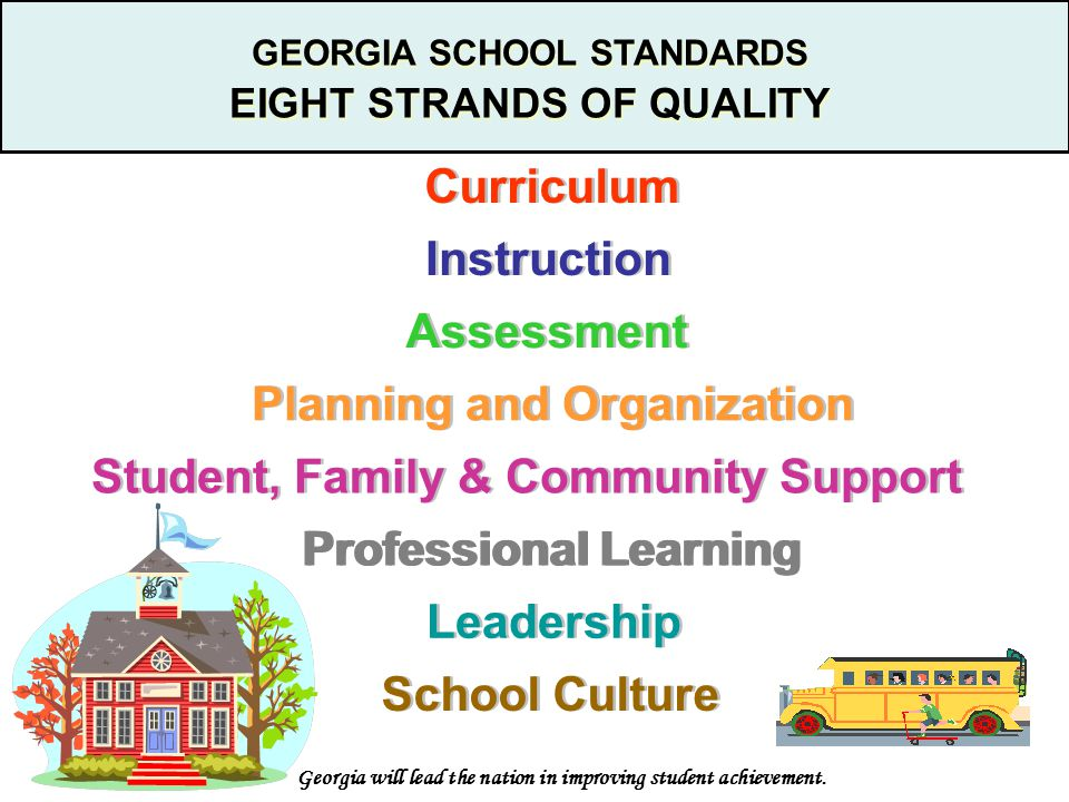 GEORGIA SCHOOL STANDARDS EIGHT STRANDS OF QUALITY GEORGIA SCHOOL STANDARDS EIGHT STRANDS OF QUALITY Curriculum Instruction Assessment Planning and Organization Student, Family & Community Support School Culture Leadership Professional Learning Georgia will lead the nation in improving student achievement.