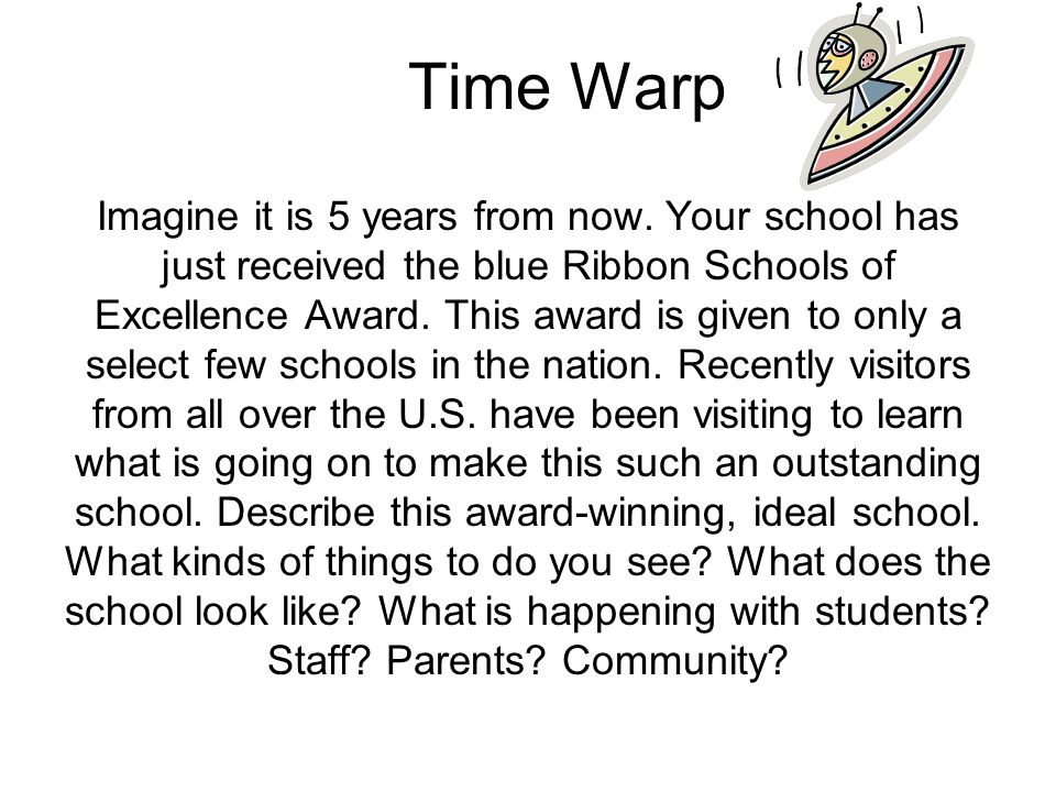 Time Warp Imagine it is 5 years from now.