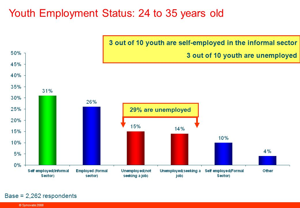 © Synovate 2008 12.00 8.70 5.48 4.63 8.24 5.73 5.27 10.7012.200.50 3.41 Youth Employment Status: 24 to 35 years old PIE CHART 29% are unemployed 3 out