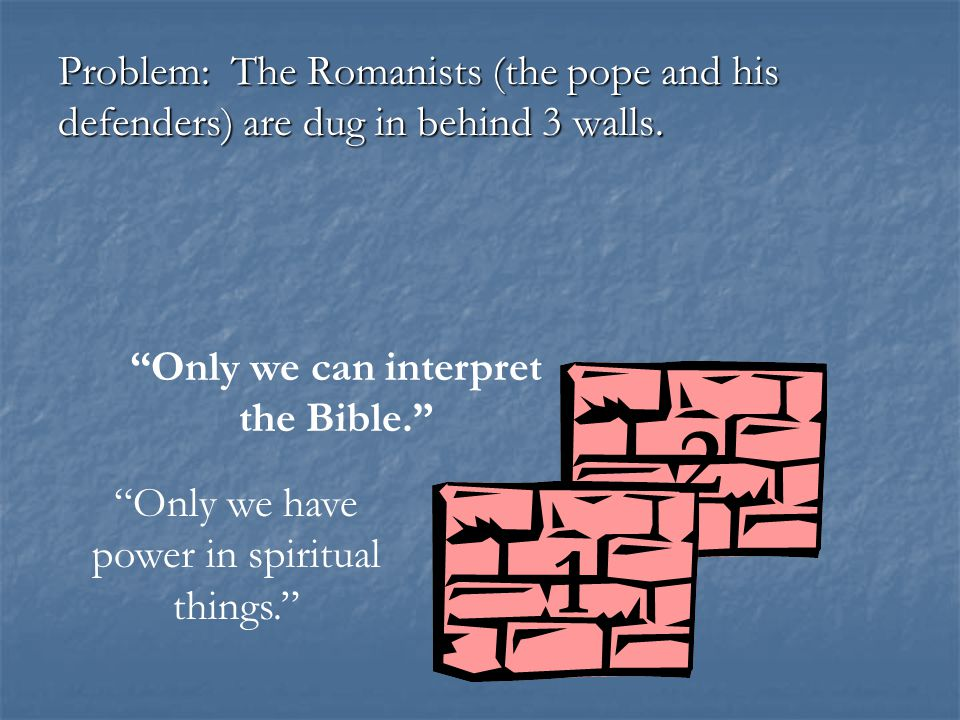 Problem: The Romanists (the pope and his defenders) are dug in behind 3 walls.
