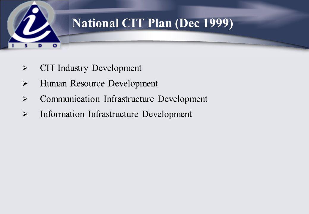  CIT Industry Development  Human Resource Development  Communication Infrastructure Development  Information Infrastructure Development National C