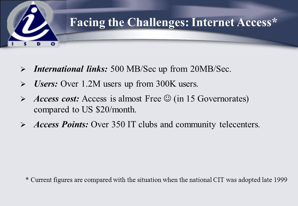  International links: 500 MB/Sec up from 20MB/Sec.  Users: Over 1.2M users up from 300K users.  Access cost: Access is almost Free (in 15 Governora