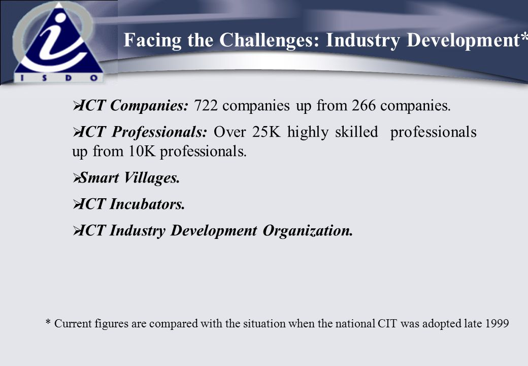 ICT Companies: 722 companies up from 266 companies.  ICT Professionals: Over 25K highly skilled professionals up from 10K professionals.  Smart Vi
