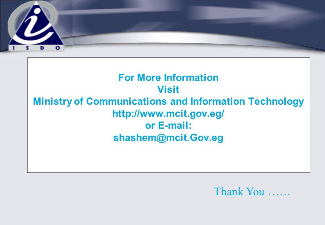 For More Information Visit Ministry of Communications and Information Technology http://www.mcit.gov.eg/ or E-mail: shashem@mcit.Gov.eg Thank You ……