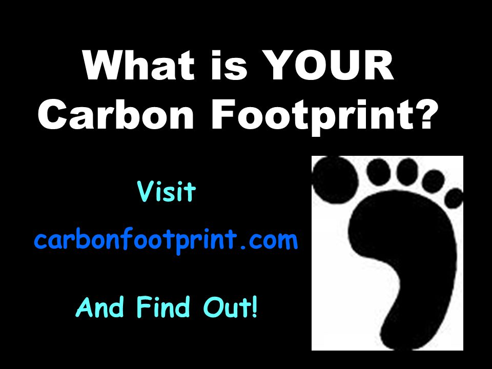 What is YOUR Carbon Footprint Visit carbonfootprint.com And Find Out!