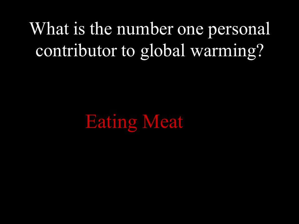 What is the number one personal contributor to global warming Eating Meat