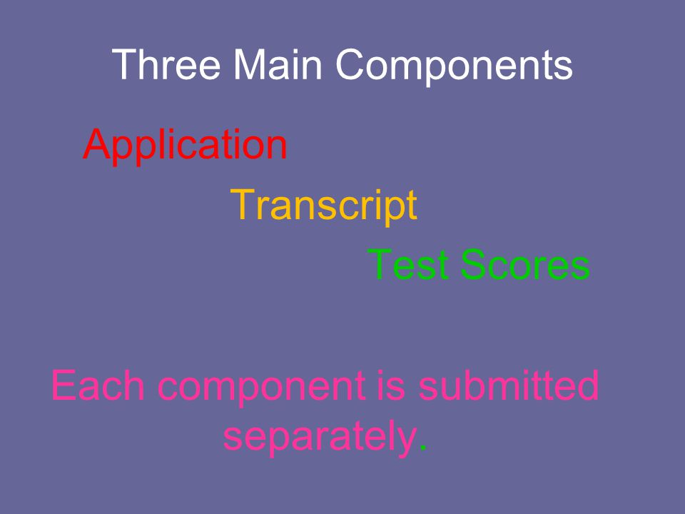 Three Main Components Application Transcript Test Scores Each component is submitted separately.
