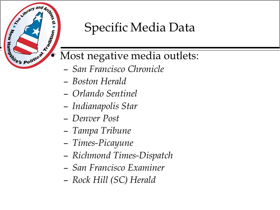 Specific Media Data Most positive media outlets: – Boston Globe – USA Today – Atlanta Journal and Constitution – LA Times – ABC – Dallas Morning News