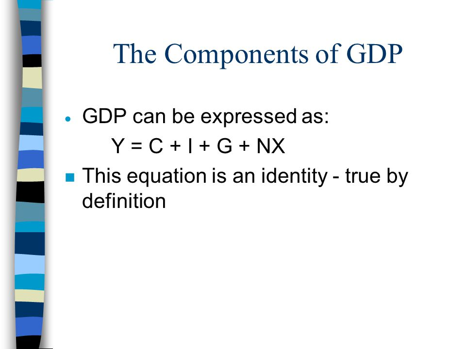 The Components of GDP  GDP can be expressed as: Y = C + I + G + NX n This equation is an identity - true by definition