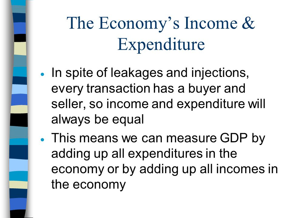 The Economy's Income & Expenditure  In spite of leakages and injections, every transaction has a buyer and seller, so income and expenditure will alw