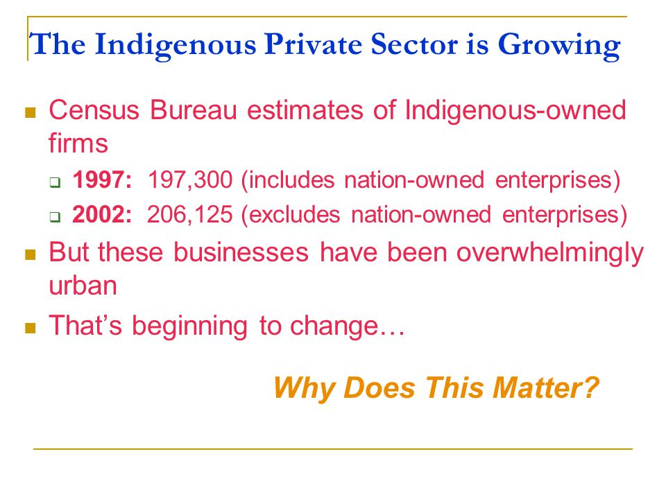 The Indigenous Private Sector is Growing Census Bureau estimates of Indigenous-owned firms  1997: 197,300 (includes nation-owned enterprises)  2002: 206,125 (excludes nation-owned enterprises) But these businesses have been overwhelmingly urban That's beginning to change… Why Does This Matter