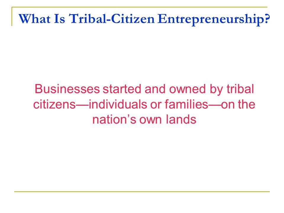What Is Tribal-Citizen Entrepreneurship.