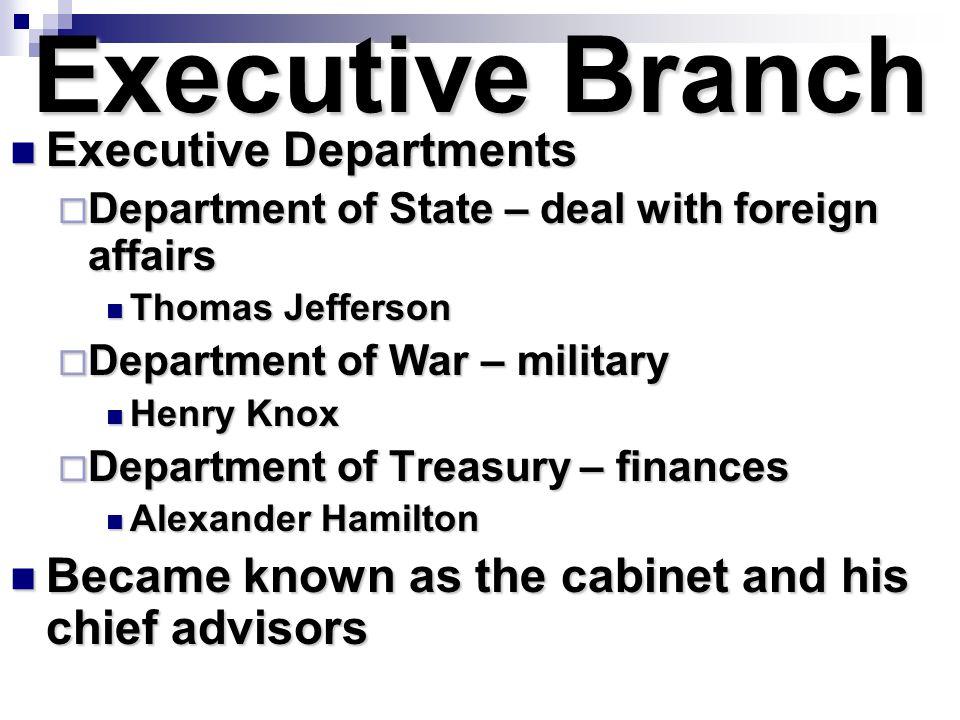 Executive Branch Executive Departments Executive Departments  Department of State – deal with foreign affairs Thomas Jefferson Thomas Jefferson  Dep