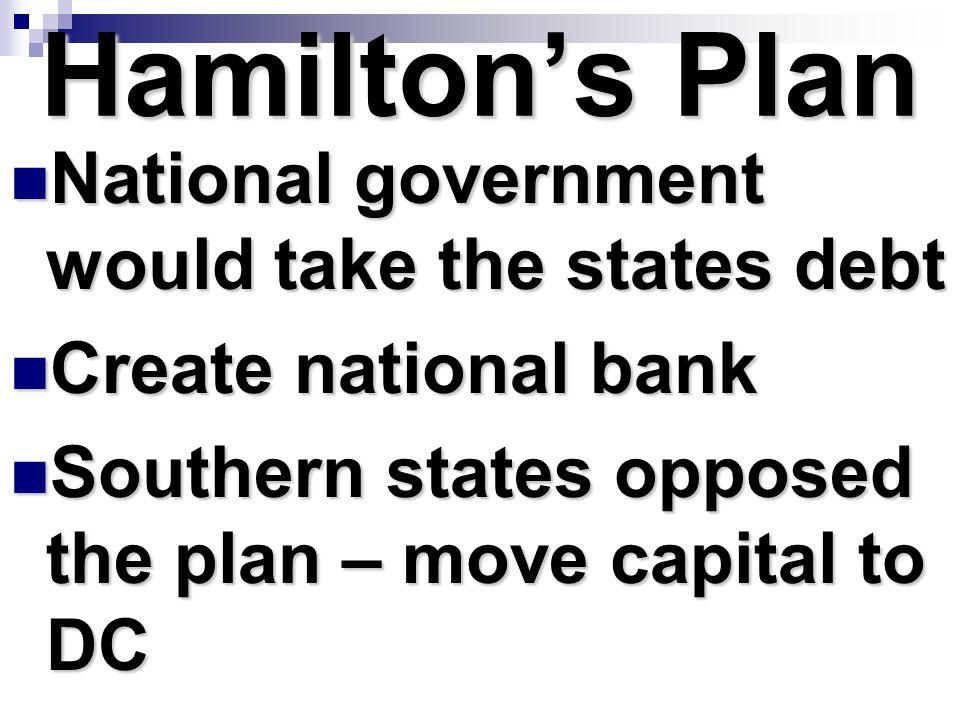 Hamilton's Plan National government would take the states debt National government would take the states debt Create national bank Create national ban