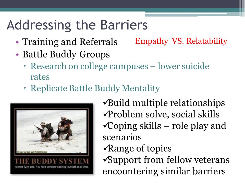 Addressing the Barriers Training and Referrals Battle Buddy Groups ▫Research on college campuses – lower suicide rates ▫Replicate Battle Buddy Mentali