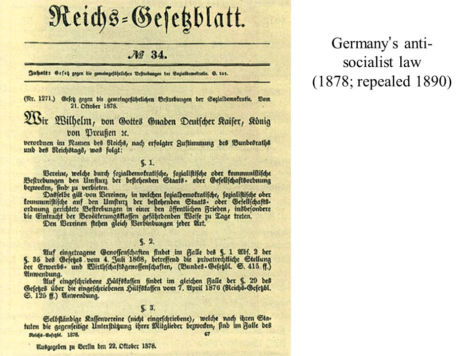 Germany's anti- socialist law (1878; repealed 1890)
