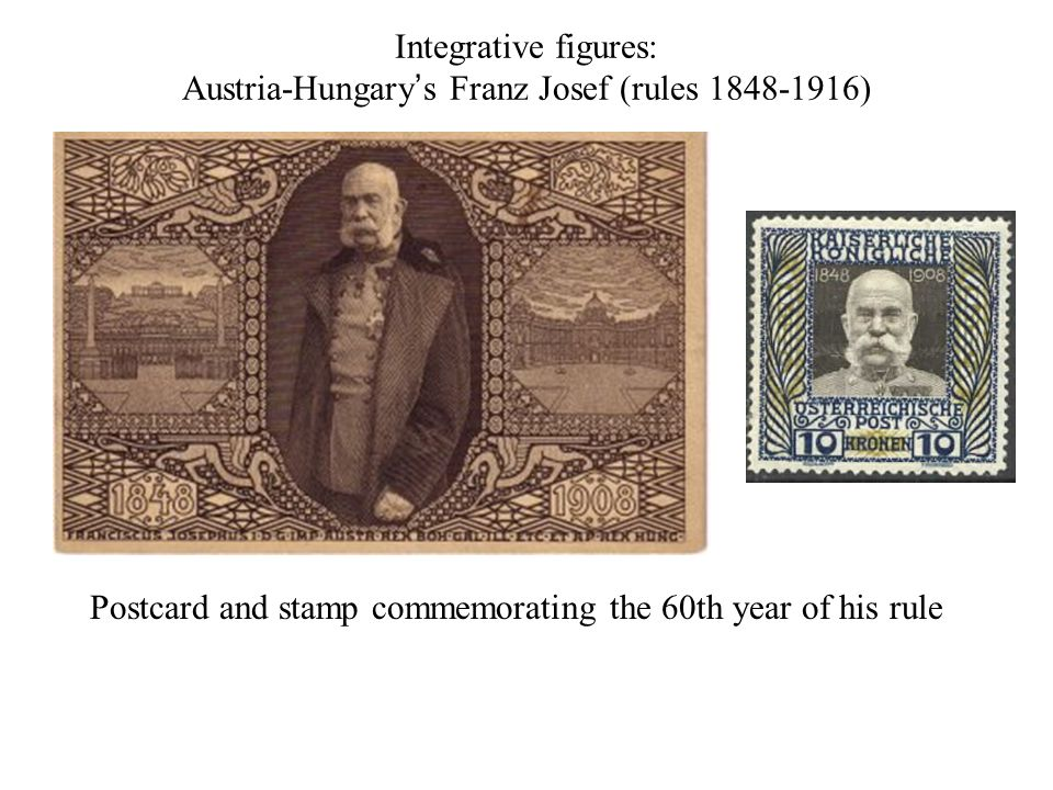 Integrative figures: Austria-Hungary's Franz Josef (rules 1848-1916) Postcard and stamp commemorating the 60th year of his rule