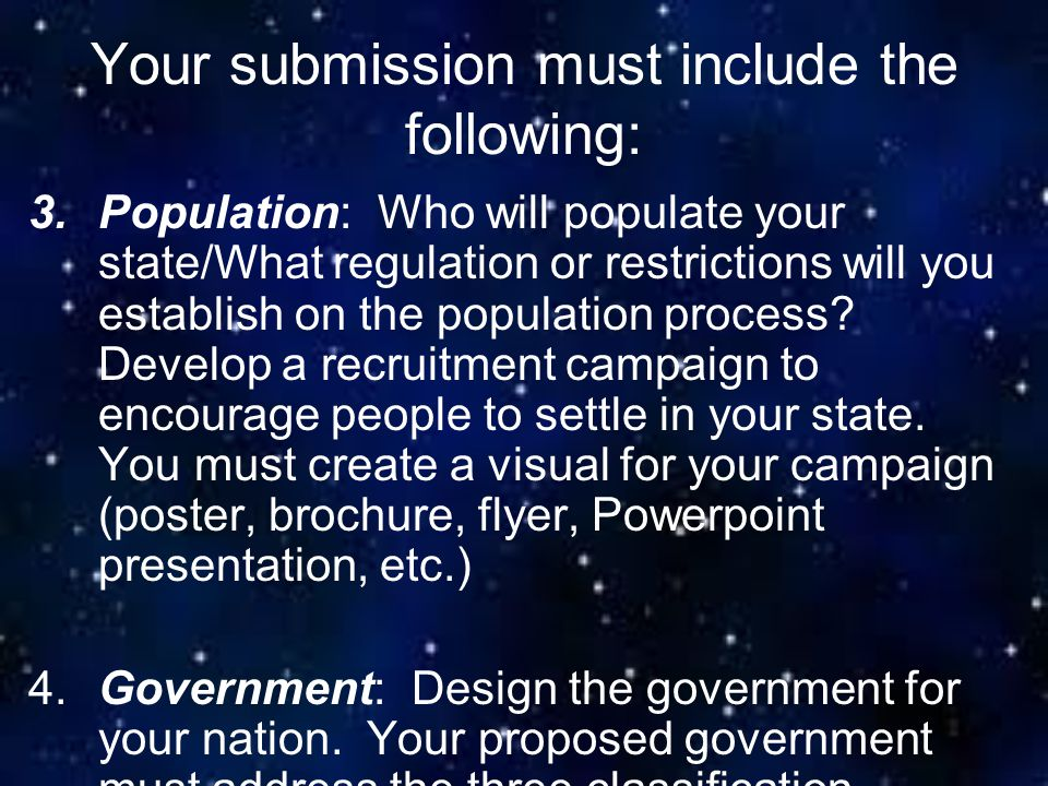 Your submission must include the following: 3.Population: Who will populate your state/What regulation or restrictions will you establish on the popul