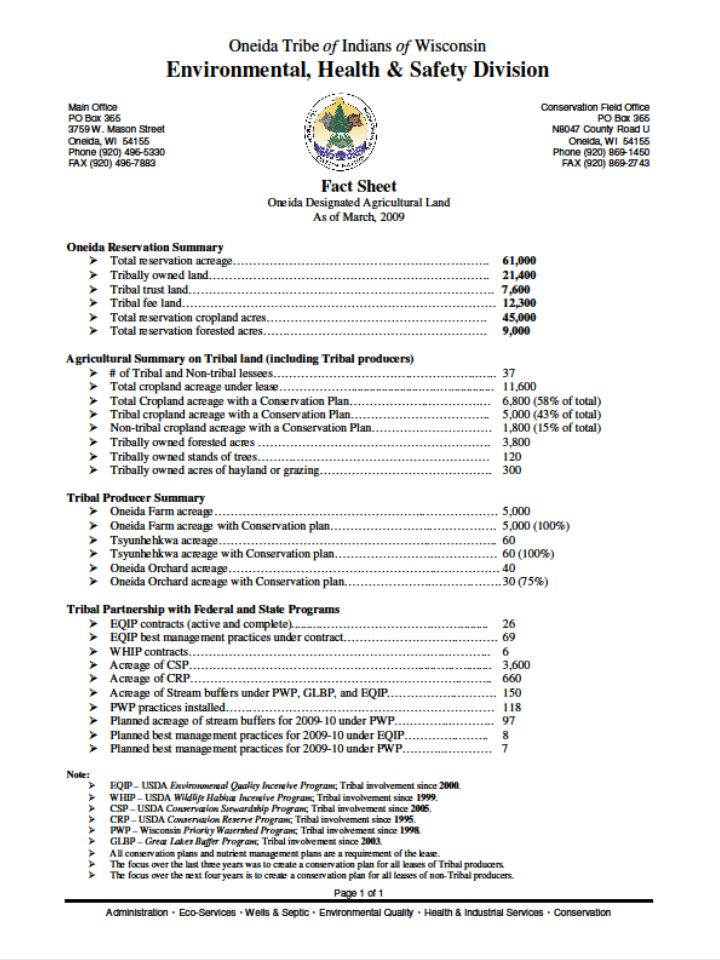 Oneida Ag-Land Decision Components Oneida Sustainable Resource Advisory Council (OSRAC) Conservation Plan SOP Agricultural Leases Partnerships: Tribal, local, state, federal, and private planning and funding programs Resource staff