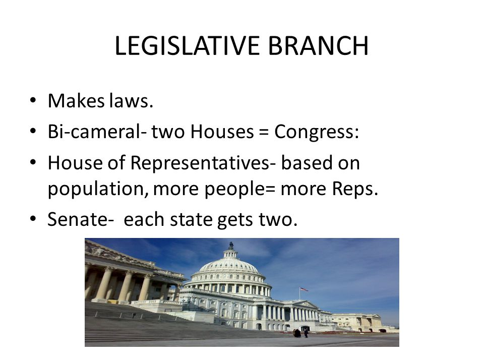 LEGISLATIVE BRANCH Makes laws. Bi-cameral- two Houses = Congress: House of Representatives- based on population, more people= more Reps. Senate- each