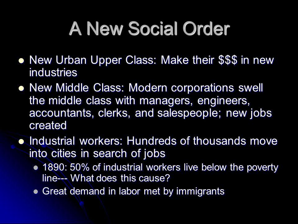 A New Social Order New Urban Upper Class: Make their $$$ in new industries New Urban Upper Class: Make their $$$ in new industries New Middle Class: M
