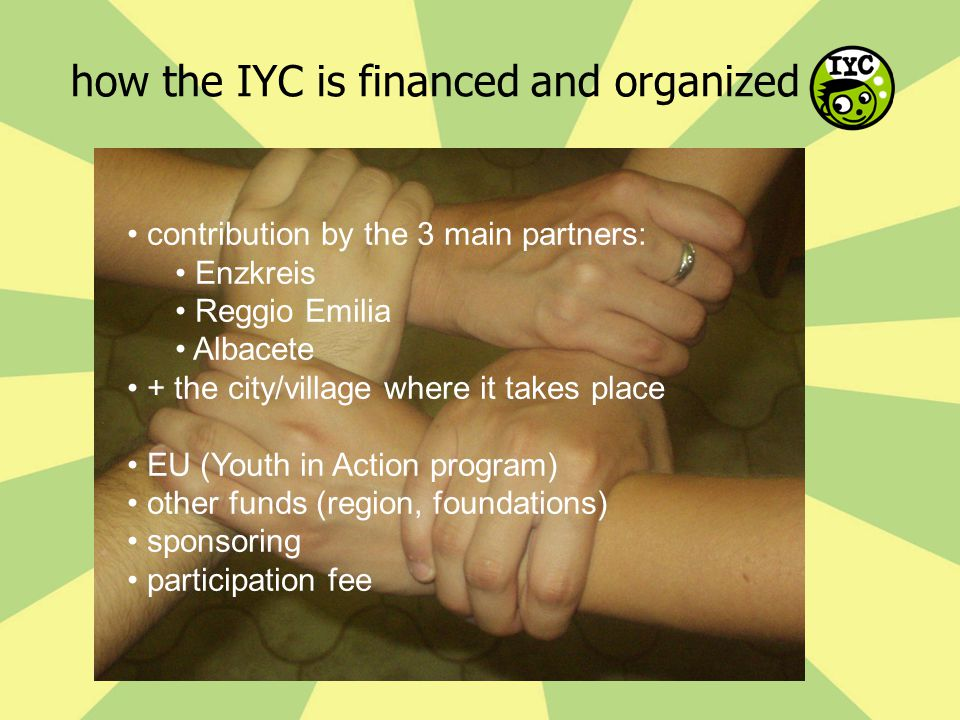 how the IYC is financed and organized contribution by the 3 main partners: Enzkreis Reggio Emilia Albacete + the city/village where it takes place EU