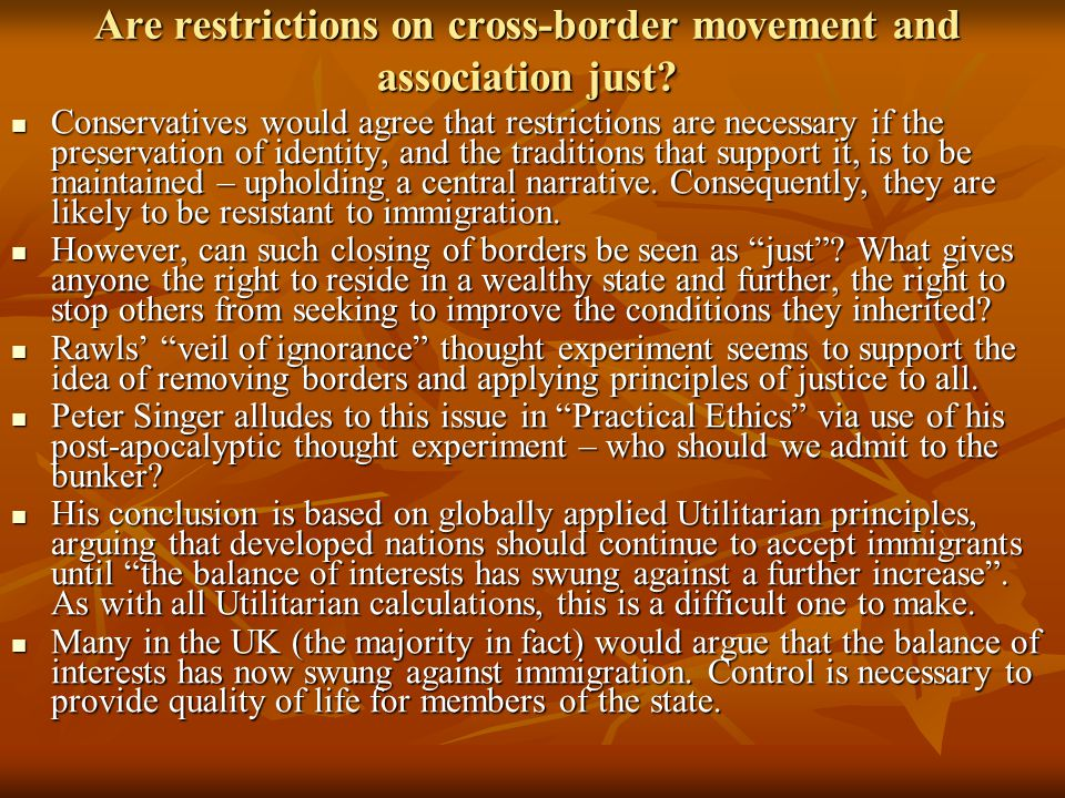 Are restrictions on cross-border movement and association just.