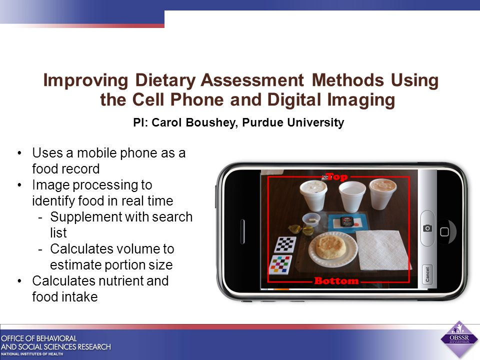 Improving Dietary Assessment Methods Using the Cell Phone and Digital Imaging Uses a mobile phone as a food record Image processing to identify food in real time -Supplement with search list -Calculates volume to estimate portion size Calculates nutrient and food intake PI: Carol Boushey, Purdue University