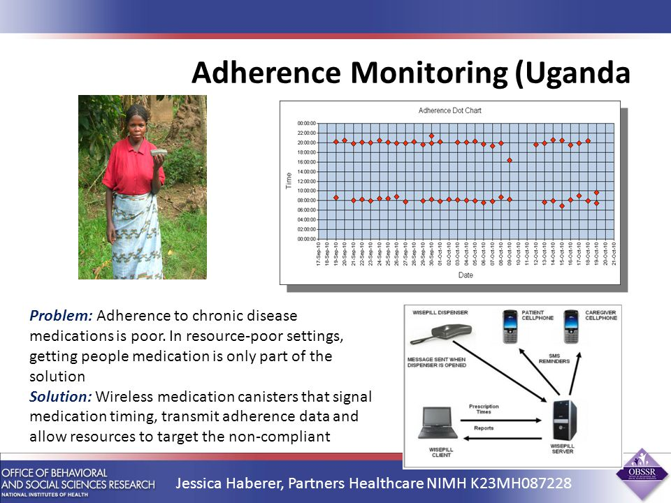 Adherence Monitoring (Uganda) Jessica Haberer, Partners Healthcare NIMH K23MH Problem: Adherence to chronic disease medications is poor.